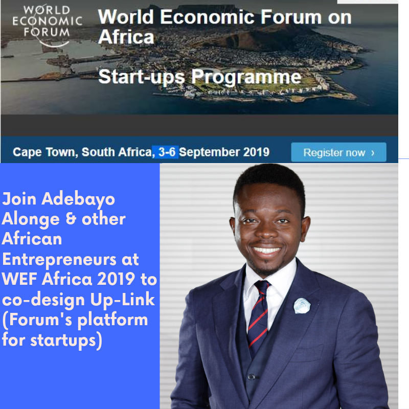 Adebayo Alonge will be sharing his entrepreneurship experience at WEF Africa 2019 in co-designing Up-Link the WEF's Platform for startups  For Updates, Subscribe- https://adebayoalonge.com/  Follow #adebayoalongeWEFAfrica2019