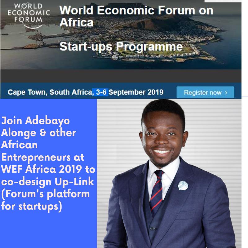Adebayo Alonge will be sharing his entrepreneurship experience at WEF Africa 2019 in co-designing Up-Link the WEF's Platform for startups  For Updates, Subscribe- https://adebayoalonge.com/  Follow #adebayoalongeWEFAfrica2019